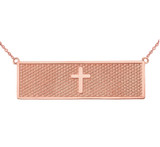 Two Sided The Lords Prayer and Cross Bar Necklace in 14K Rose Gold