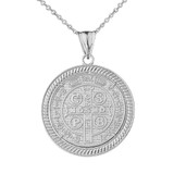 Two Sided Saint Benedict Medallion Pendant Necklace in White Gold
