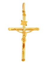 Gold Tubular Cross Charm Catholic Crucifix Pendant Necklace