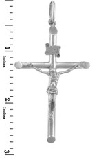 White Gold Crosses and Crucifixes - Large Gold Crucifix Pendant