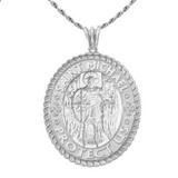 St Michael Protect Us Pendant Necklace in Sterling Silver