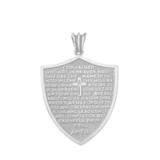 The Lords Prayer Shield Medallion Pendant Necklace in Sterling Silver