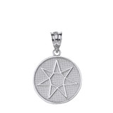 Solid White Gold Wiccan Heptagram Faery Star Circle Pendant Necklace