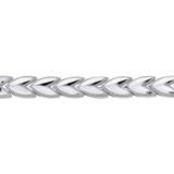 Solid White Gold Chevron Leaf Link Sparkle Cut Women's Bracelet (5.33 mm)