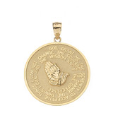 Solid Yellow Gold Double Sided Serenity & The Lord's Prayer Pendant Necklace