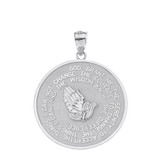 Solid White Gold Double Sided Serenity & The Lord's Prayer Pendant Necklace