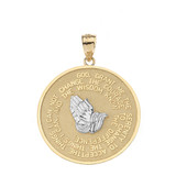 Solid Two Tone Yellow Gold Double Sided Serenity & The Lord's Prayer Pendant Necklace