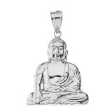 Solid White Gold Zen Buddhist Meditation Buddha Pendant Necklace