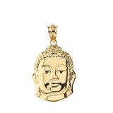 Solid Yellow Gold Zen Buddha Head Pendant Necklace
