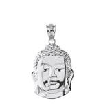 Solid White Gold Zen Buddha Head Pendant Necklace
