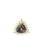Chic CZ & Trillion Cut Mystic Topaz Pendant Necklace  in 14 Yellow Gold