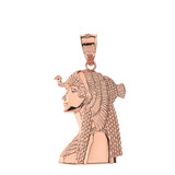 Solid Rose Gold Cleopatra Egyptian Queen Pendant Necklace