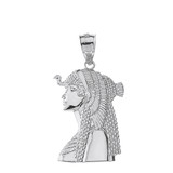 Solid White Gold Cleopatra Egyptian Queen Pendant Necklace