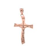 Solid Rose Gold INRI Wave Crucifix Pendant Necklace