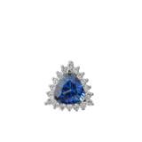 Chic Diamond & Trillion Cut Sapphire (LCS) Pendant Necklace  in 14K White Gold