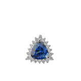 Chic CZ & Trillion Cut Sapphire (LCS) Pendant Necklace  in 14K White  Gold