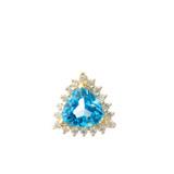 Chic CZ & Trillion Cut Blue Topaz Pendant Necklace in  14K Yellow Gold