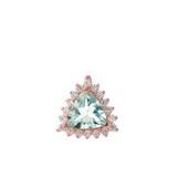 Chic Diamond & Trillion Cut Genuine Aquamarine Pendant Necklace  in 14K Rose Gold