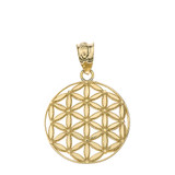 Flower of Life Sacred Geometry Pendant Necklace in Gold (Yellow/Rose/White)