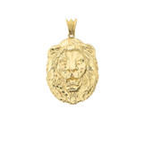 Bold Lion Statement Pendant Necklace in Yellow Gold (Medium)