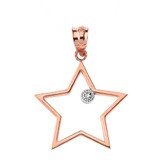 Solid Rose Gold Star Outline Solitaire Pendant Necklace