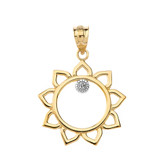 Sunflower Outline Solitaire Pendant Necklace in Gold (Yellow/Rose/White)