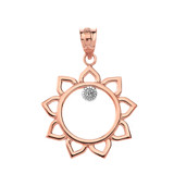 Solid Rose Gold Sunflower Outline Solitaire Pendant Necklace