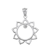 Solid White Gold Sunflower Outline Solitaire Pendant Necklace
