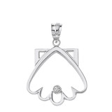 Sterling Silver Clamshell Outline CZ Pendant Necklace