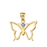 Butterfly Outline Solitaire Pendant Necklace in Gold (Yellow/Rose/White)