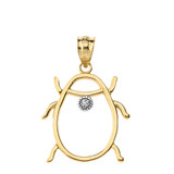 Ladybug Outline Solitaire Pendant Necklace in Gold (Yellow/Rose/White)