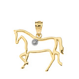 Horse Outline Solitaire Equestrian Pendant Necklace in Gold (Yellow/Rose/White)