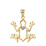 Frog Outline Solitaire Pendant Necklace in Gold (Yellow/Rose/White)