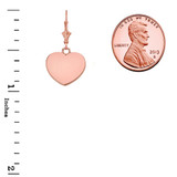 Solid Rose Gold Simple Heart Leverback Earrings