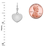 Solid White Gold Simple Heart Leverback Earrings
