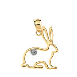 Jack Rabbit Outline Solitaire Pendant Necklace in Gold (Yellow/Rose/White)