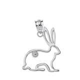 Solid White Gold Jack Rabbit Outline Solitaire Pendant Necklace