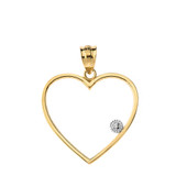 Heart Outline Solitaire Pendant Necklace in Gold (Yellow/Rose/White)