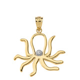 Octopus Outline Solitaire Pendant Necklace in  Gold (Yellow/Rose/White)