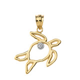 Sea Turtle Outline Solitaire Pendant Necklace in Gold (Yellow/Rose/White)