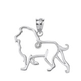 Solid White Gold Lion Outline Solitaire Pendant Necklace