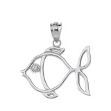 Solid White Gold Tropical Reef Fish Outline Solitaire Pendant Necklace