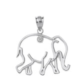 Sterling Silver Elephant Outline CZ Pendant Necklace