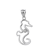 Solid White Gold Seahorse Outline Solitaire Pendant Necklace