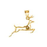 Diamond Running Deer Pendant Necklace in Gold (Yellow/Rose/White)