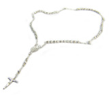 Sterling Silver White Silver Rosary Beaded Necklace 17 Inch