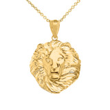 Lion King Head Pendant Necklace in Gold (Medium) 1.31 in. (Yellow/Rose/White)