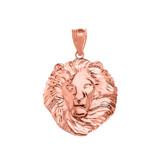 Lion King Head Pendant Necklace in Rose Gold (Medium)