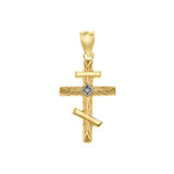 Diamond Russian  Orthodox Cross Pendant Necklace in Gold (Yellow/Rose/White)