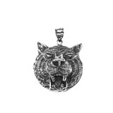 Sterling Silver Oxidized Tiger Head Charm Pendant